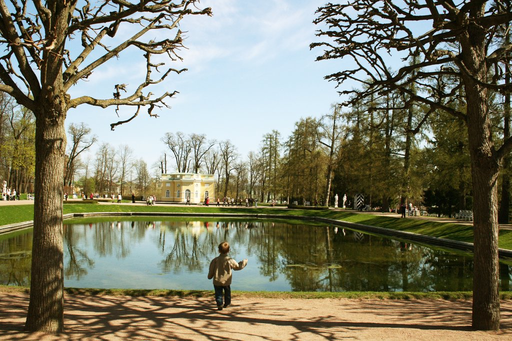 Stock Photo: 1818R-445 Russia, St. Petersburg, Peter the Great's palace, View of pond