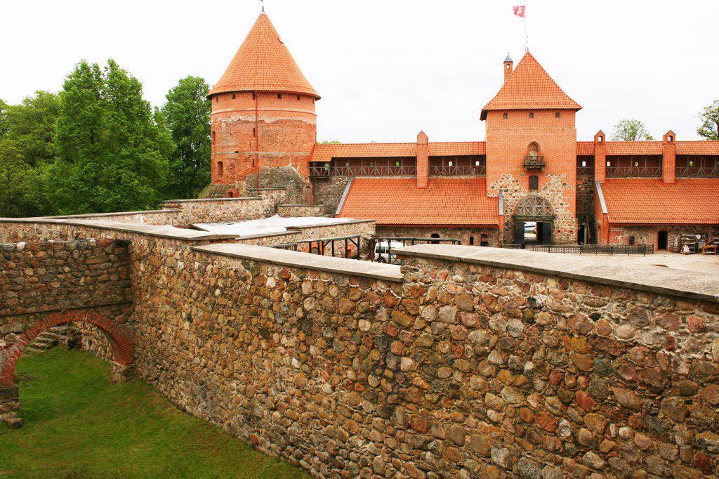 Stock Photo: 1818R-447 Lithuania, Trakai, Trakai Castle, Interior walls and moat
