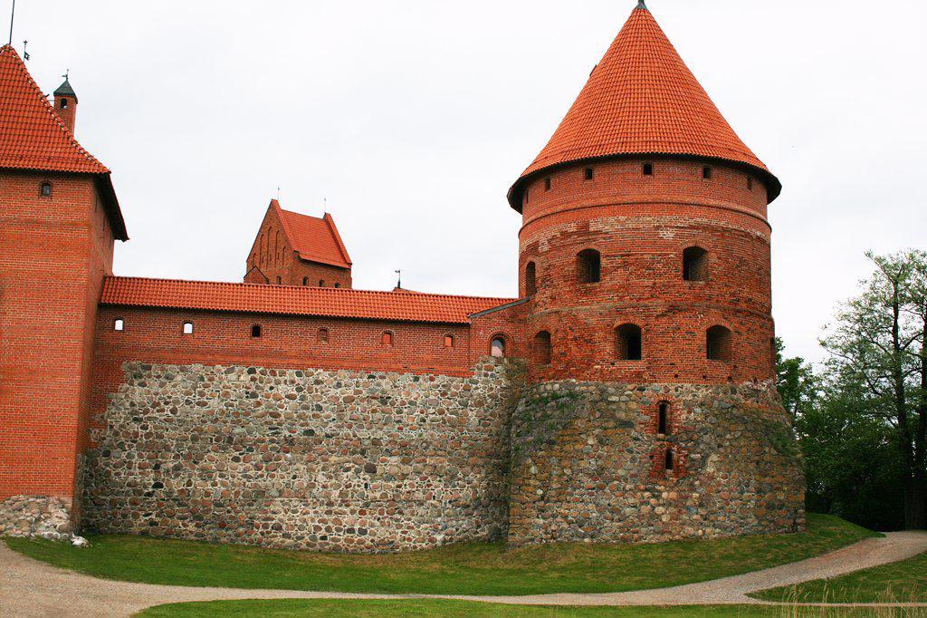 Lithuania, Trakai, Trakai Castle, Outside wall and tower : Stock Photo