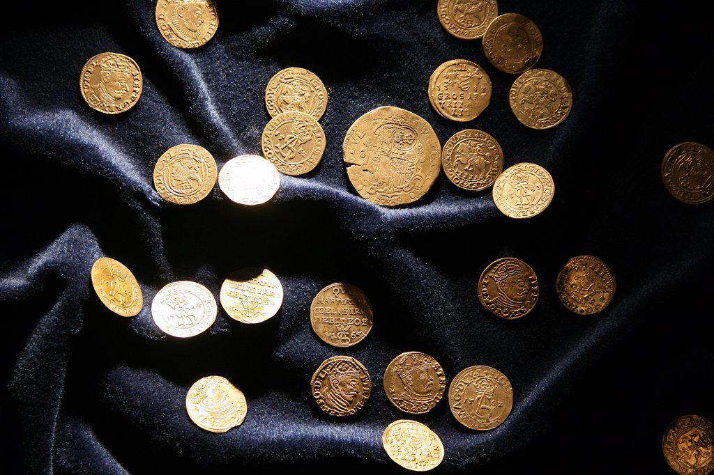 Stock Photo: 1818R-449 Lithuania, Trakai, Trakai Castle, 16th century coins in museum