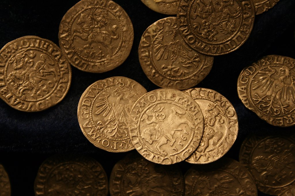 Stock Photo: 1818R-450 Lithuania, Trakai, Trakai Castle, 16th century coins in museum