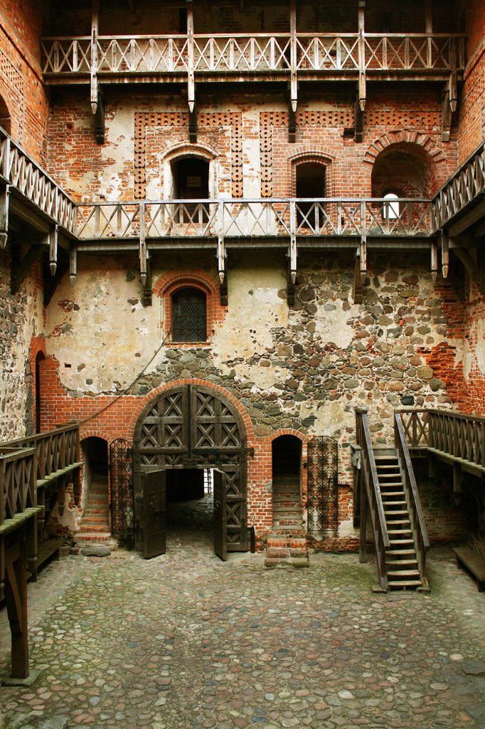 Stock Photo: 1818R-451 Lithuania, Trakai, Trakai Castle, Inside courtyard of Grand Ducal quarters