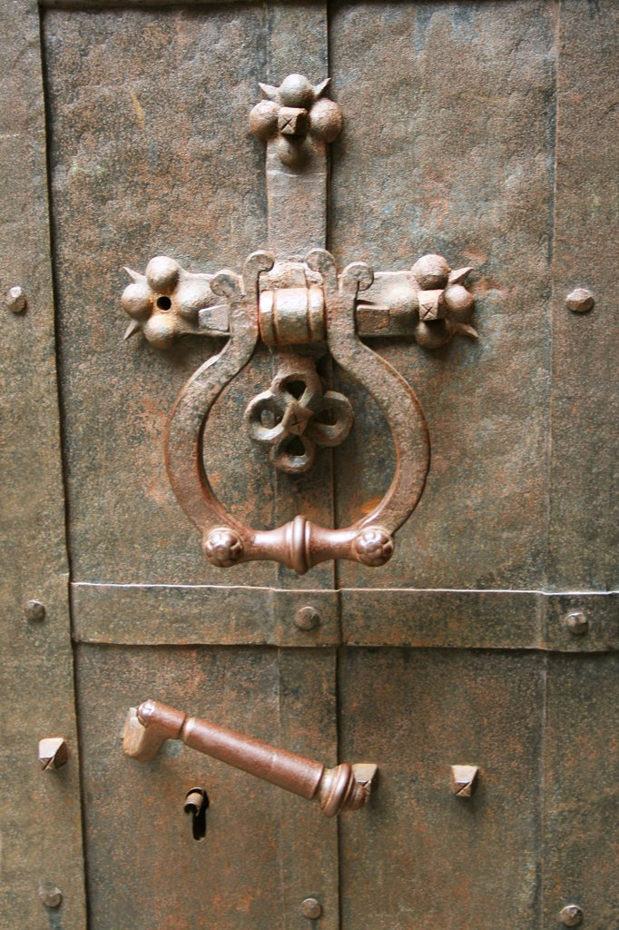 Stock Photo: 1818R-452 Lithuania, Trakai, Trakai Castle, Grand Ducal quarters, Iron door latch,