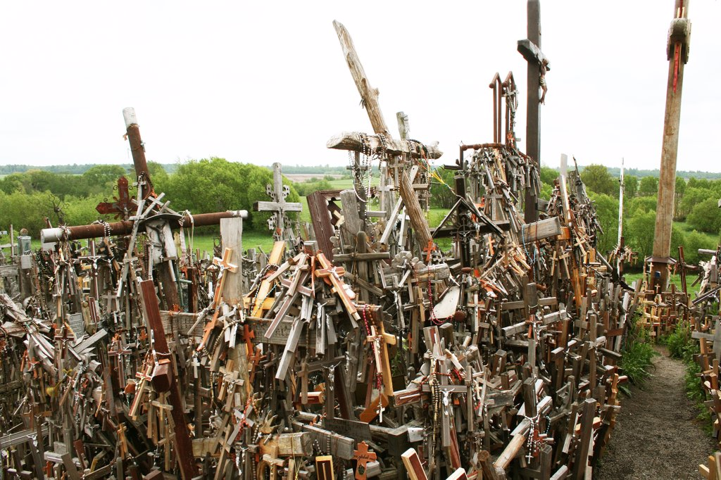 Lithuania, Siauliai, Hill of Crosses, Close-up on wooden crosses : Stock Photo