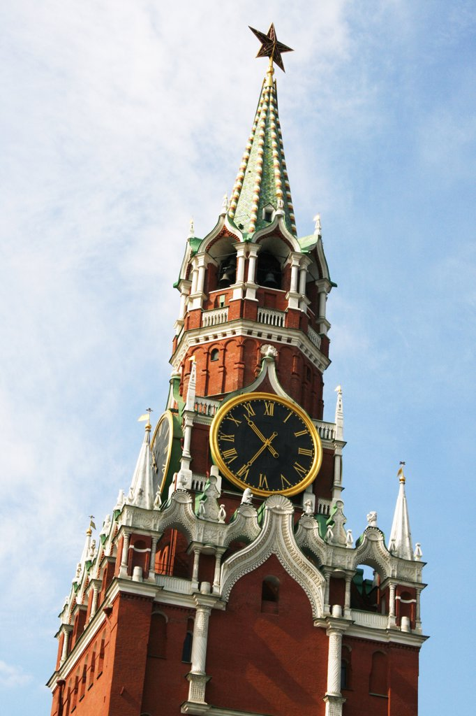 Russia, Moscow, Red Square, Savior's Gate, Detail, Kremlin clock tower : Stock Photo
