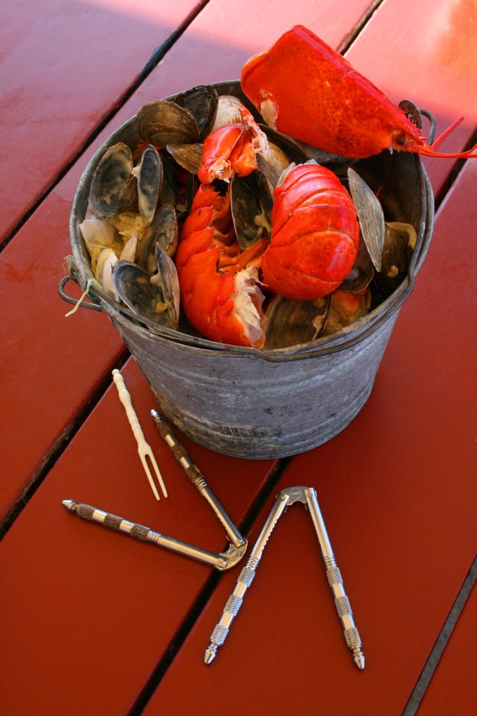 Stock Photo: 1818R-468 USA, Maine, Mainer Shore dinner with lobster and mussels