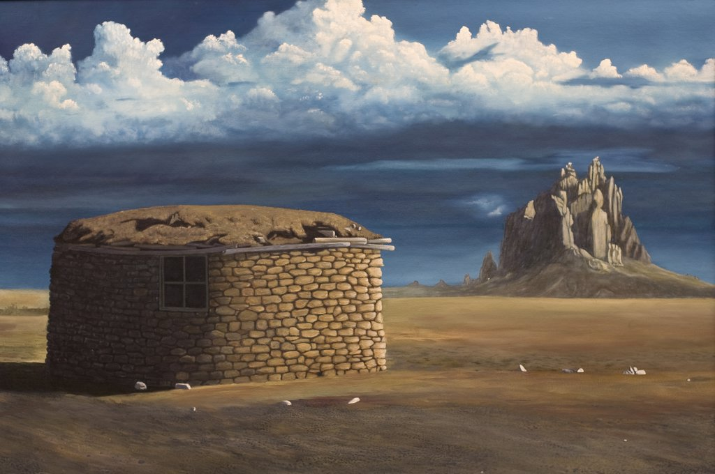 Hogan Near Ship Rock,  New Mexico, 1997, Jerome Kleine, (b.20th. C/American), Oil : Stock Photo