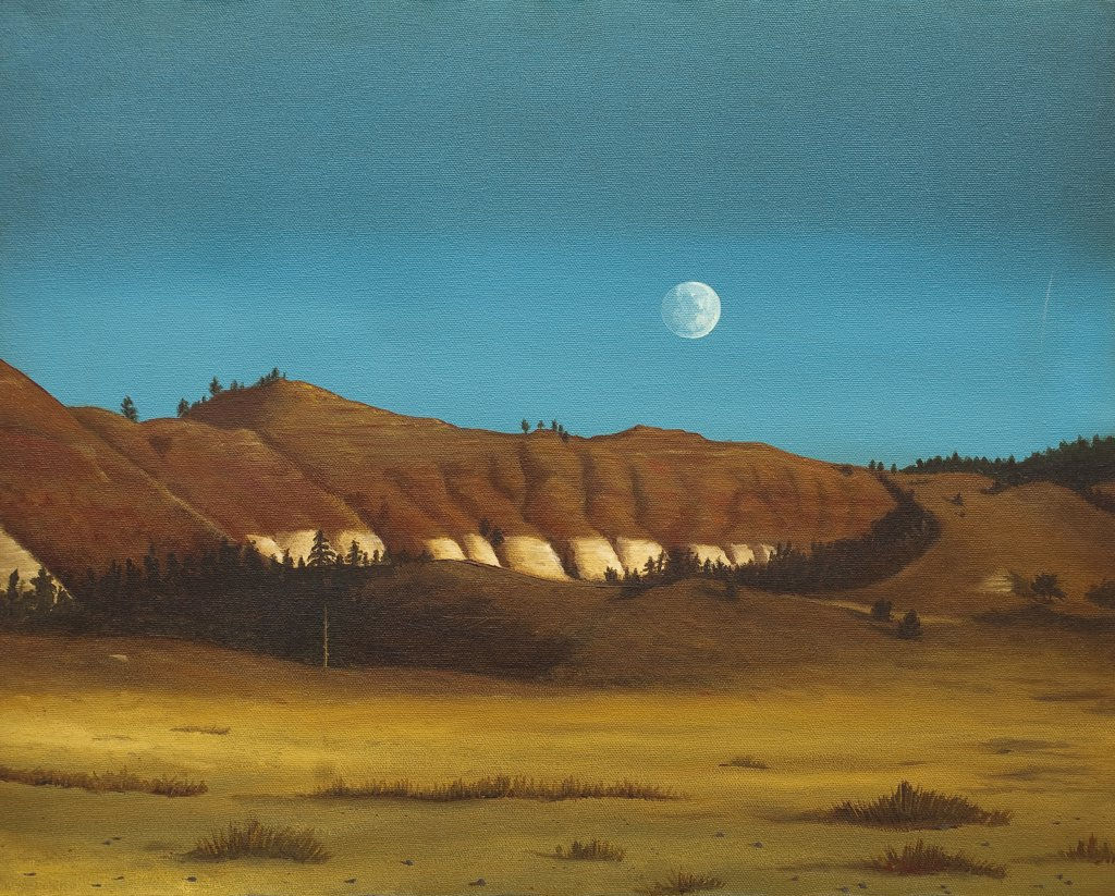 Stock Photo: 1820-114 Full Moon Rising Over Desert, 1991, Jerome Kleine, (b.20th. C/American), Oil