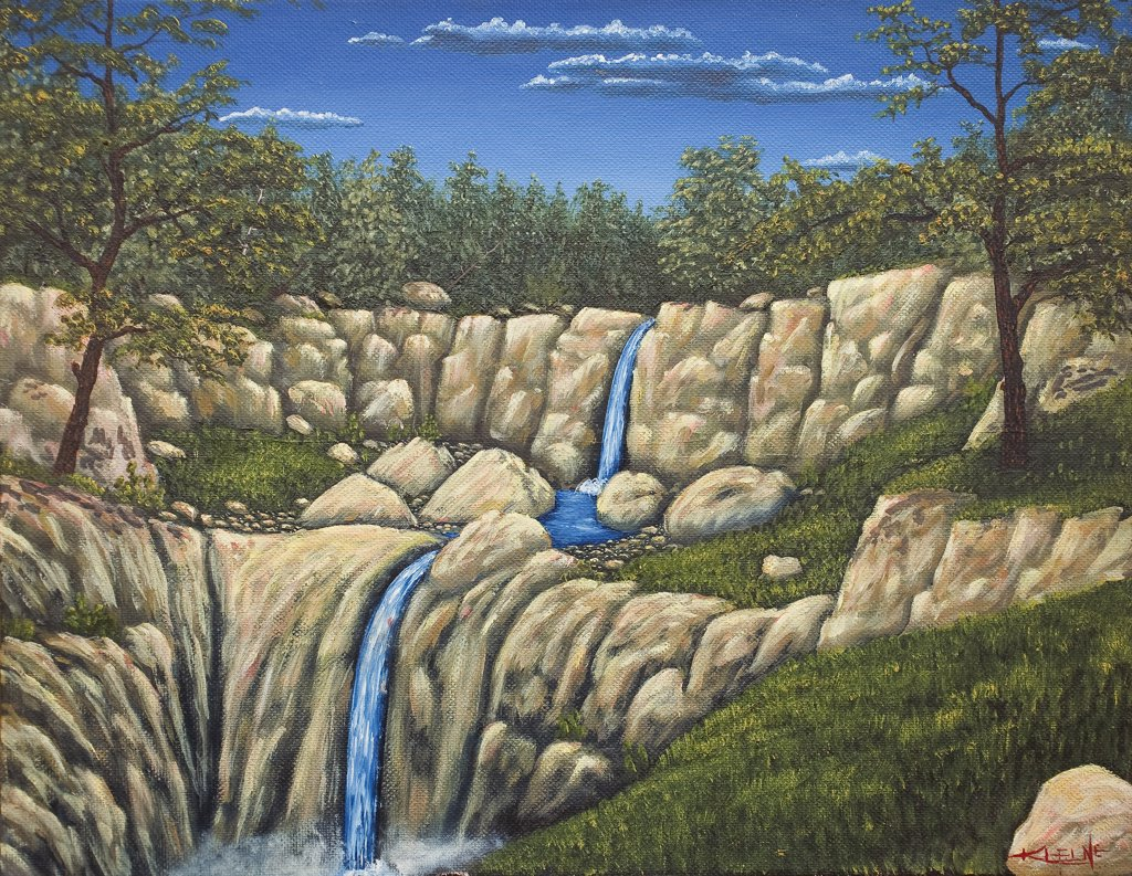 Stock Photo: 1820-119 Blue Stream with Double Waterfall, 1990, Jerome Kleine, (b.20th. C/American), Oil