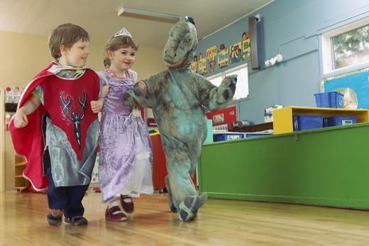 Preschool children wearing costumes : Stock Photo