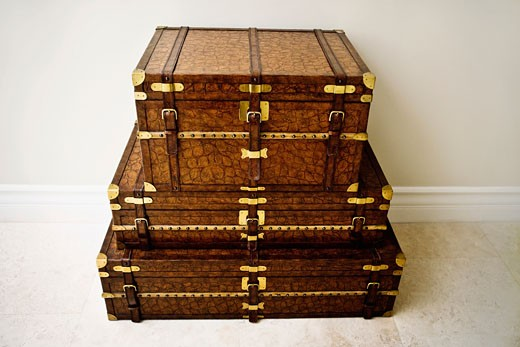 Stock Photo: 1825-1155 High angle view of a stack of chest boxes