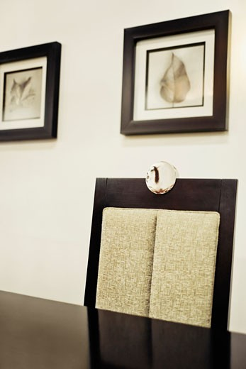 Chair and a table in a dining room : Stock Photo