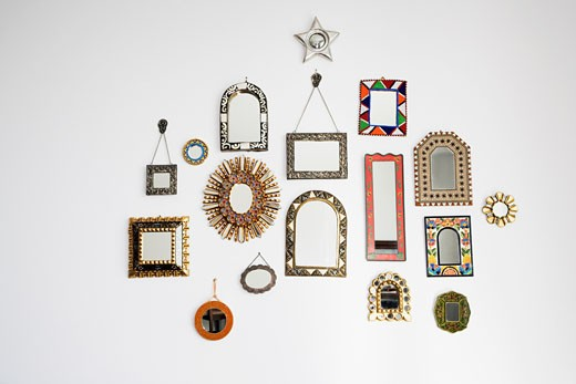 Stock Photo: 1825-1709 Mirrors attached on a wall