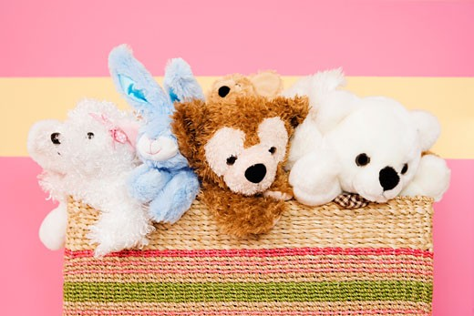 Stock Photo: 1825-2292 Stuffed toys in a basket