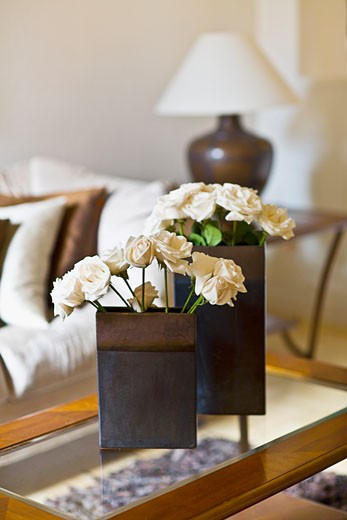 Stock Photo: 1825-2598 Close-up of flower vases on a table