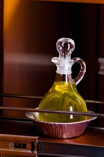 Cooking oil in a decanter : Stock Photo