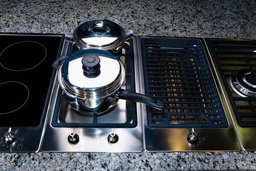 Saucepan on a stove : Stock Photo