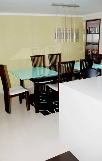 Dining table and chairs in a dining room : Stock Photo