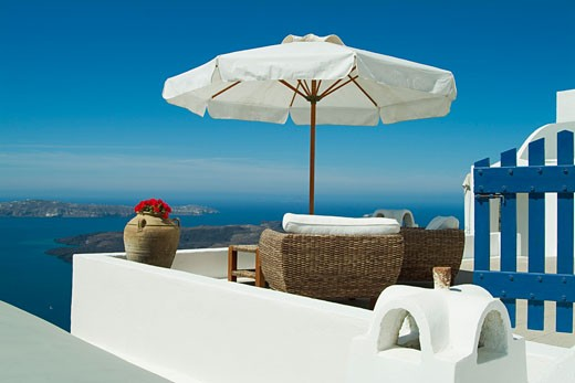 Patio over Caldera, Imerovigli, Santorini, Cyclades Islands, Greece    : Stock Photo