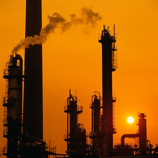 Stock Photo: 1828R-1193 Silhouette of Petrochemical Plant At Sunset Sarnia, Ontario, Canada