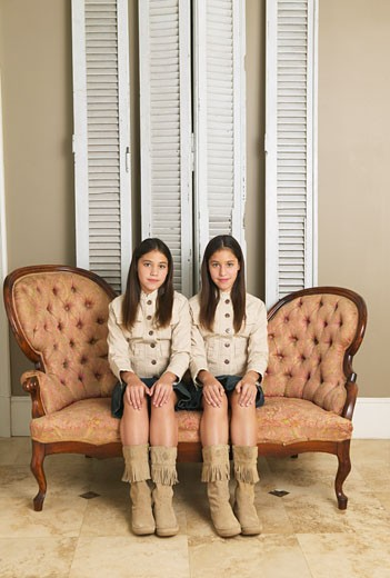 Stock Photo: 1828R-12079 Portrait of Twin Sisters