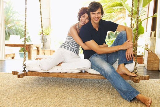 Couple on Porch Swing    : Stock Photo