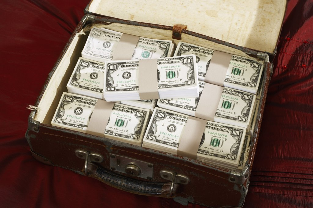 Stock Photo: 1828R-12330 Briefcase Full of Money