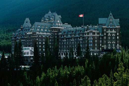 Stock Photo: 1828R-1285 Banff Springs Hotel Banff National Park Alberta, Canada