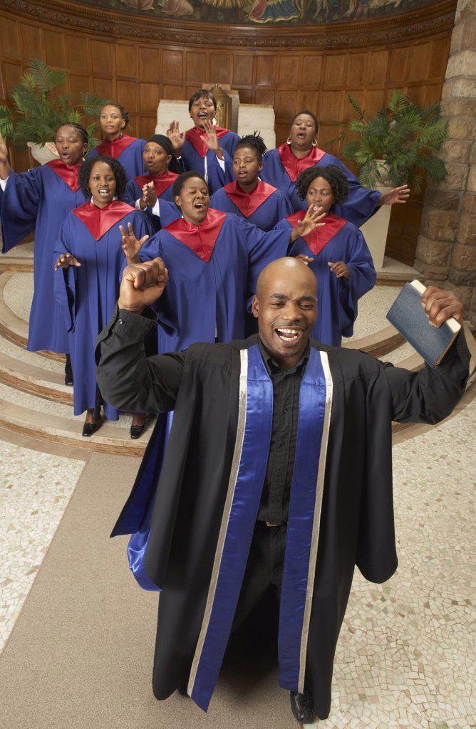 Stock Photo: 1828R-13161 Gospel Choir and Minister
