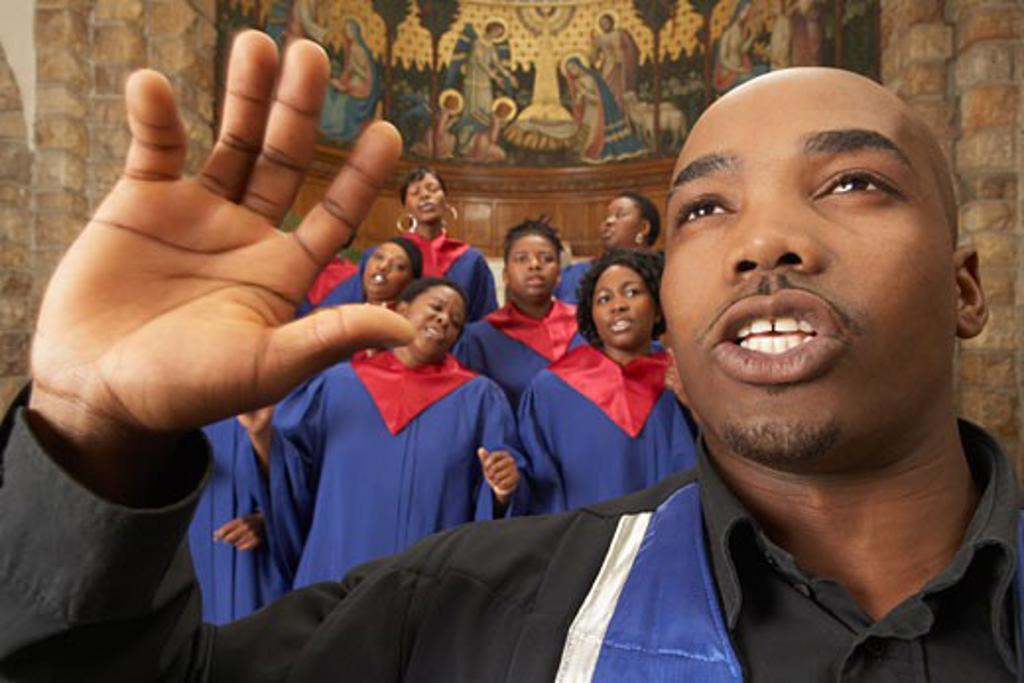 Gospel Choir and Minister    : Stock Photo