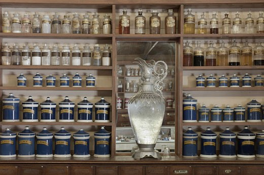 Stock Photo: 1828R-13537 Old Fashioned Pharmacy Display, Swan Hill Pioneer Settlement, Swan Hill, Victoria, Australia