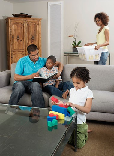 Stock Photo: 1828R-13590 Family at Home
