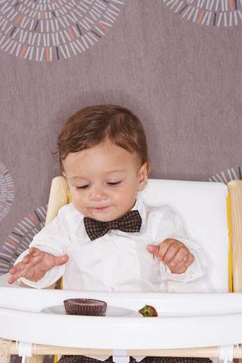 Stock Photo: 1828R-13950 Baby in High Chair with Dessert