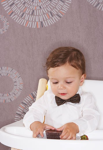 Baby in High Chair with Dessert    : Stock Photo