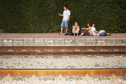 People Waiting for Train    : Stock Photo