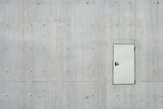 Concrete Wall With Door    : Stock Photo