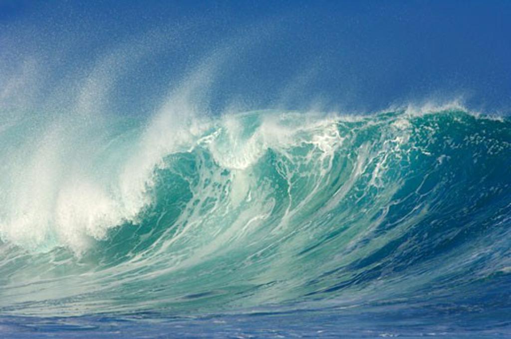 Stock Photo: 1828R-14260 Waves, North Shore, Oahu, Hawaii