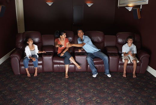 Stock Photo: 1828R-14519 Family Watching Television