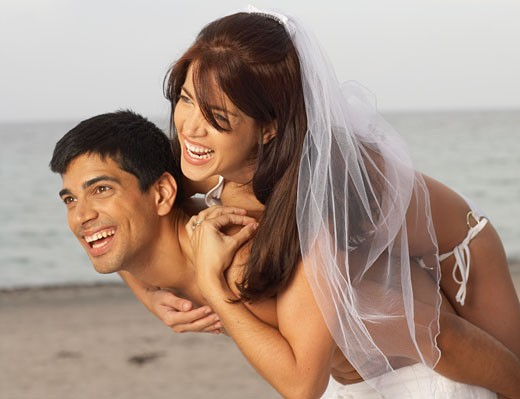 Couple Getting Married at Beach    : Stock Photo