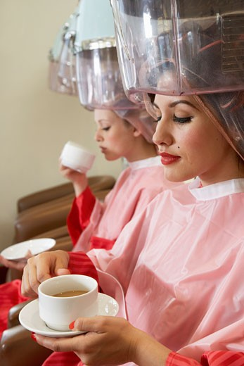 Stock Photo: 1828R-15106 Women Drinking Coffee at Hair Salon
