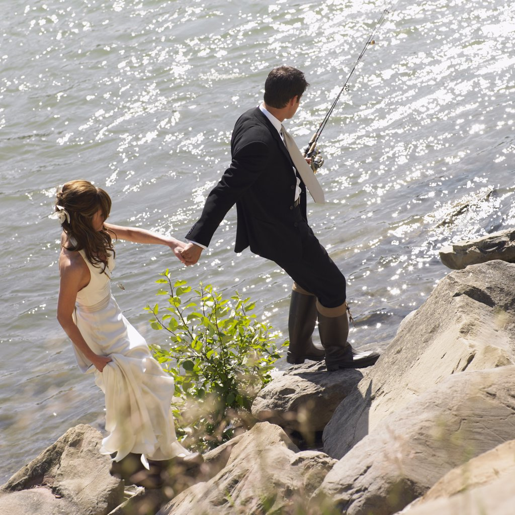 Bride and Groom Fishing    : Stock Photo