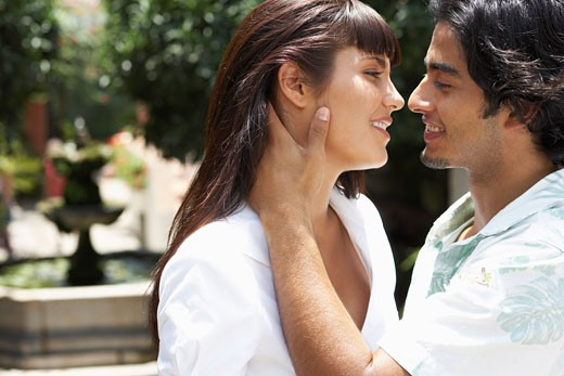 Close-Up of Couple Outdoors    : Stock Photo
