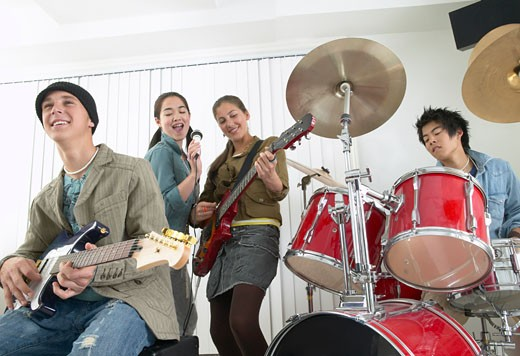 Stock Photo: 1828R-16214 Band Rehearsing