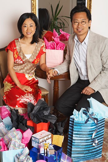Portrait of Couple with Shopping Bags    : Stock Photo