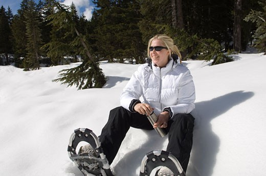 Stock Photo: 1828R-16956 Woman Snowshoeing, Vancouver, British Columbia, Canada