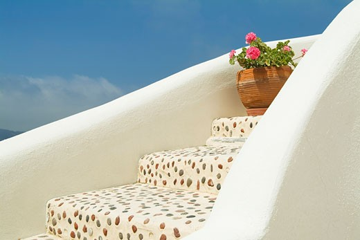 Stock Photo: 1828R-17361 Stairs and Potted Geranium, Oia, Santorini, Cyclades Islands, Greece