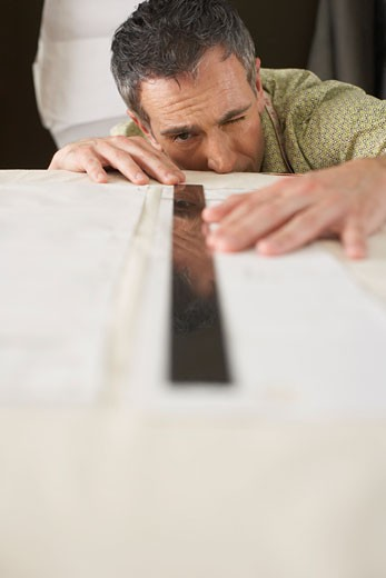 Man Using Ruler    : Stock Photo