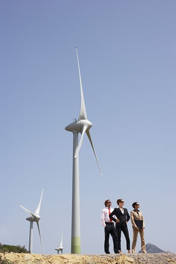 Stock Photo: 1828R-18119 Business People by Wind Farm
