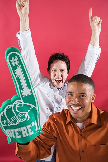 Stock Photo: 1828R-18634 Men Cheering with Foam Finger