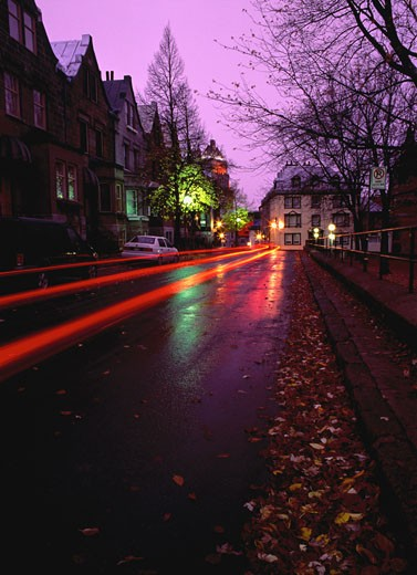 Light Trails on Road at Dusk Quebec City, Quebec, Canada    : Stock Photo